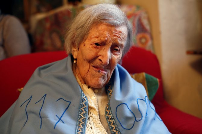 Emma Morano, thought to be the world's oldest person and the last to be born in the 1800s, is seen during her 117th birthday in her house in Verbania, northern Italy November 29, 2016. REUTERS/Alessandro Garofalo