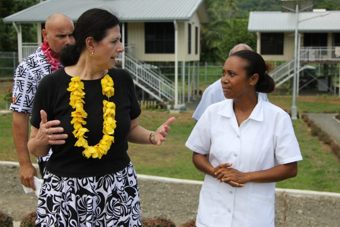 Minister for International Development and the Pacific Sen. Concetta Fierravanti-Wells meets health staff at Bubuleta Community Health Post in Milne Bay Province.