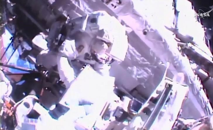 NASA astronauts Shane Kimbrough and Thomas Pesquet upgrade the International Space Station's power system during a spacewalk, in this still image taken from video, January 13, 2017.  Courtesy NASA/Handout via REUTERS