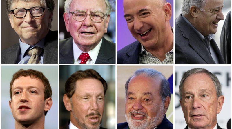 A combination photo shows (top, L-R) Bill Gates, Warren Buffett, Jeff Bezos, Amancio Ortega, (bottom, L-R) Mark Zuckerberg, Larry Ellison, Carlos Slim and Michael Bloomberg.   REUTERS/File Photos