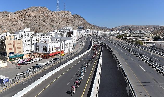 Cycling: 7th Tour of Oman 2016 / Stage 5 Illustration Illustratie / Peleton Peloton / Muscat City Ville Stad / Highway Autoroute Autostrade Snelweg / Landscape Paysage Landschap / Yiti (Al Sifah) - Ministry of Tourism (119,5km)/ Etape Rit Ronde/(c) Tim De Waele