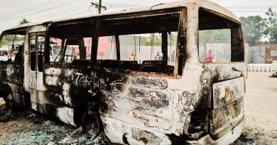 PMV Bus Set Alight After Hitting Boy