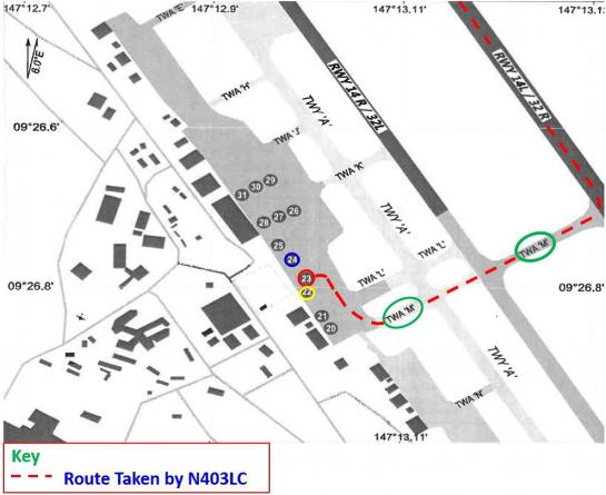 Figure 1: Route Taken by N403LC